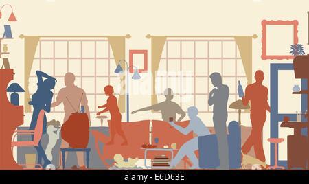 Editierbare Vector Silhouetten von einem Familientreffen in einem Wohnzimmer - Stockfoto