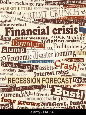Hintergrund-editierbare Vektor-Design von Schlagzeilen über wirtschaftliche Probleme - Stockfoto