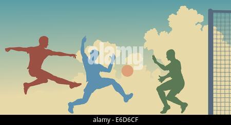 Bearbeitbares Vektor bunte Silhouetten der Aktion in einem Fußballspiel - Stockfoto