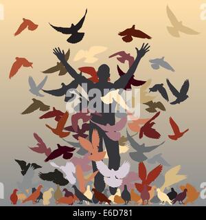 Vector Silhouette eines Mannes und Herde von Tauben mit allen Elementen als separate Objekte - Stockfoto