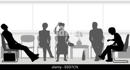 Editierbare Vector Silhouetten von Menschen sitzen in einem Wartezimmer - Stockfoto
