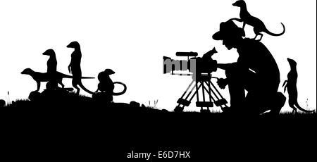 Editierbare Vector Silhouetten der Kameramann filmt Erdmännchen mit allen Elementen als separate Objekte - Stockfoto