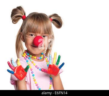 Kleines Mädchen mit der Clownsnase - Stockfoto