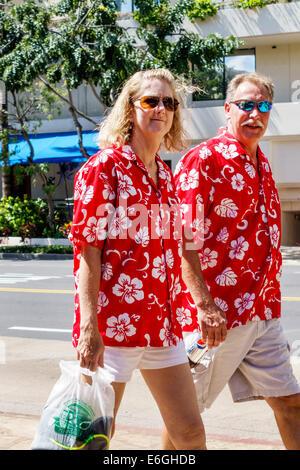 Hawaii, Oahu, Hawaiian, Honolulu, Waikiki Beach, Resort, Erwachsene Erwachsene Männer Männer Männer, Frauen Frauen - Stockfoto