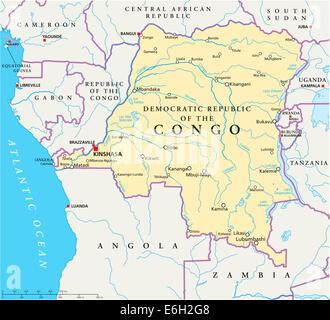 politische karte der demokratischen republik kongo mit den. Black Bedroom Furniture Sets. Home Design Ideas