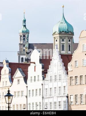 Historischen Renaissance Rathaus Augsburg und dem Perlach-Turm - Stockfoto
