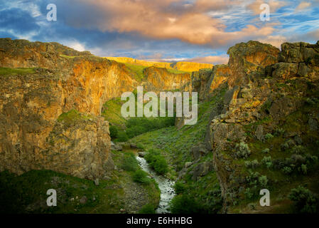 Beistand Creek Canyon mit Sonnenuntergang. Malheur Grafschaft, Oregon - Stockfoto