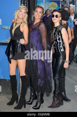 "New York, NY, USA. 25. August 2014. 3. Auge Mädchen: Hannah ""Ford"" Welton, Ida Nielsen, Donna Grantis bei Talkshow - Stockfoto"