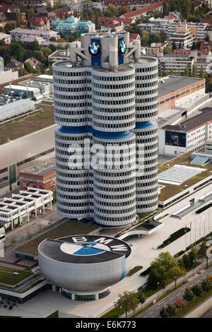 Luftaufnahme, BMW-Zentrale oder BMW-Vierzylinder, München, Upper Bavaria, Bavaria, Germany - Stockfoto