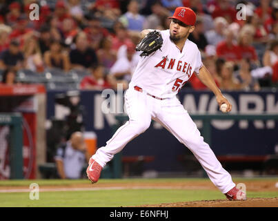 Anaheim, CA, d. h. USA. 27. August 2014. 27. August 2014: Miami Marlins und Los Angeles Angels of Anaheim, Angel - Stockfoto