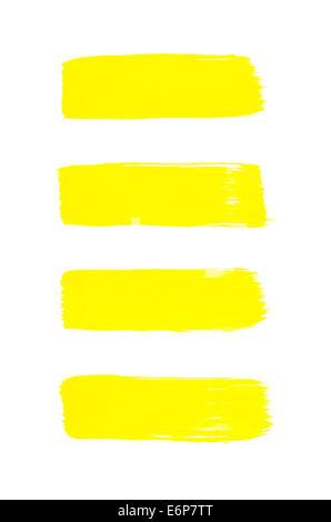 Ein gelb auf weißem Papier gemalt - Stockfoto