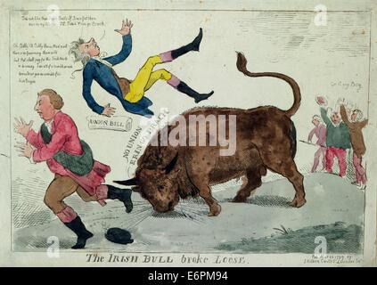 """Der irischen Stier brach lose - Zusammenfassung: Print zeigt die """"Irish Bull"""" wirft William Pitt in die Luft und - Stockfoto"""