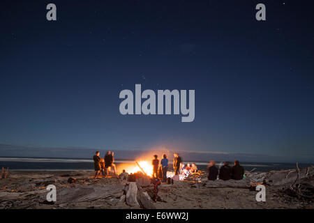 Lagerfeuer mit Treibholz am Strand, Gruppe von Menschen rund um ein Lagerfeuer, West Coast, Südinsel, Neuseeland - Stockfoto