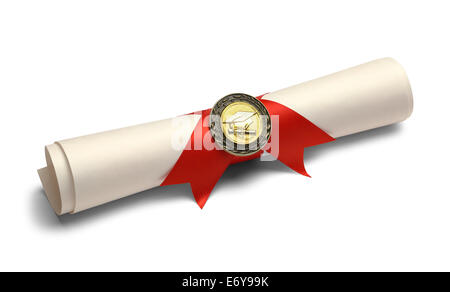 Grad-Schriftrolle mit Red Ribbon und Diplom-Medaille, Isolated on White Background. - Stockfoto