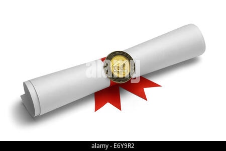 Diplom mit Grad-Medaille und Red Ribbon Isolated on White Background. - Stockfoto