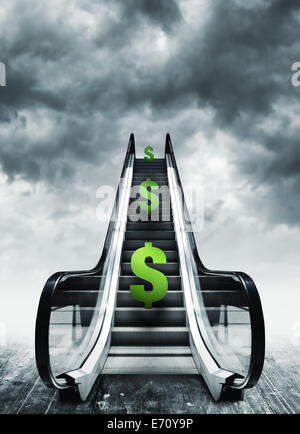 Dollar-Symbol auf Rolltreppen. Währung-Konzept, Inflation und Deflation, Finanzen und Wechselkurs. - Stockfoto
