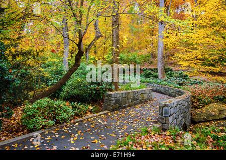 Herbst-Trail in botanischen Gärten in Athens, Georgia, USA.