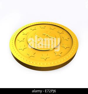 Goldene Münze mit Dollarzeichen isoliert auf weißem Hintergrund. - Stockfoto