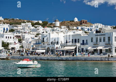 Harbourside, Mykonos-Stadt (Chora), Mykonos, Cyclades, griechische Inseln, Griechenland, Europa - Stockfoto
