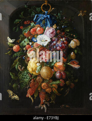 Soffitten von Früchten und Blumen - von Jan Davidsz de Heem, 1660-1670 - Stockfoto