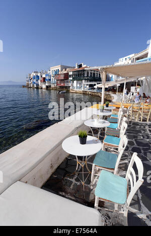 """Foto des Bereichs """"Klein-Venedig"""" der Insel Mykonos, Griechenland. - Stockfoto"""
