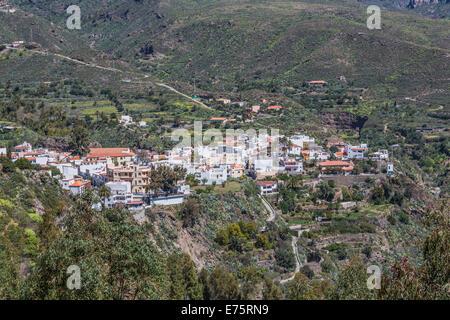 Blick vom Mirador von Las Tirajanas Hotel, San Bartolomé de Tirajana, Gran Canaria, Kanarische Inseln, Spanien - Stockfoto