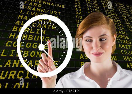 Zusammengesetztes Bild der Geschäftsfrau Lächeln auf den Lippen und zeigt - Stockfoto