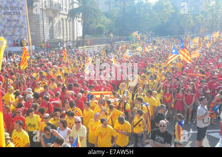 Barcelona, Spanien. 11. September, 2014. Diada Katalonien (Barcelona, 11. September 2014) Menschen in die Fahne - Stockfoto