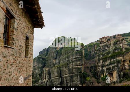 Blick vom Kloster Varlaam in Meteora-Griechenland - Stockfoto