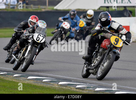 Goodwood, Sussex, UK 12. September, 2014.12.09.2014 Goodwood Revival Meeting Goodwood Flugplatz UK Barry Sheene - Stockfoto