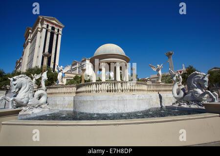 HIPPOCAMP Statue, The Fountains, Caesars Palace Hotel und Casino, Las Vegas, Nevada, USA - Stockfoto