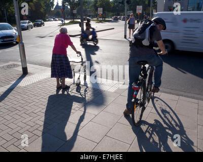 Alte Dame mit Walker, die darauf warten, überqueren Sie die Straße in Köln, NRW, Deutschland - Stockfoto