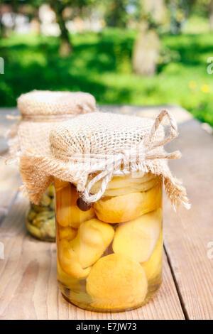 Gläser Marmelade auf Holztisch im Garten. Herbst Teller - Stockfoto