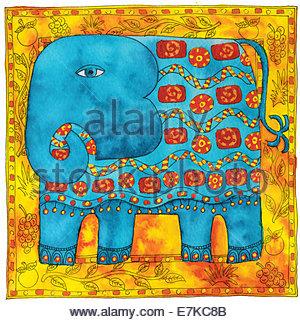 Feder und Tinte Abbildung eines gemusterten Elefanten mit einem Rand - Stockfoto