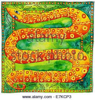 Feder und Tinte Abbildung einer gemusterten Schlange mit einem Blatt-Rahmen - Stockfoto