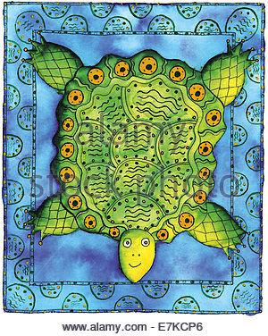 Feder und Tinte Abbildung einer Schildkröte mit einer gemusterten Bordüre. - Stockfoto