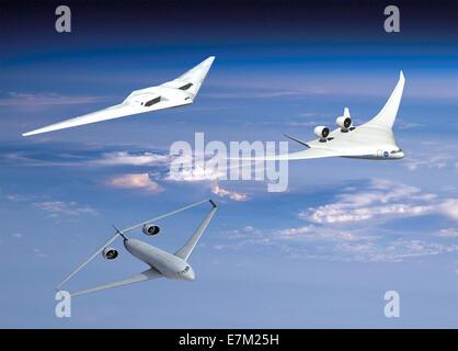 Neue Ideen für umweltfreundlichere Flugzeuge drei Branchenteams verbrachte 2011 studieren, wie NASA Ziele für die - Stockfoto