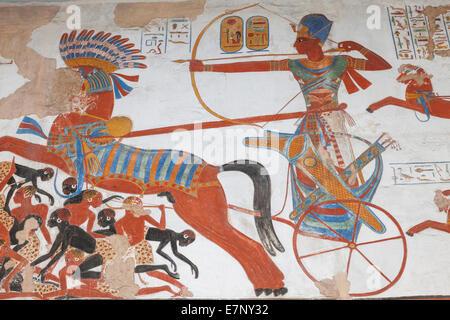 England, Europa, London, British Museum, Gipsverband Relief Darstellung Ramses II Jagd aus dem Tempel von Beit el - Stockfoto