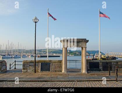 Der Mayflower Steps, Plymouth, Devon.  Diese markieren den Ausgangspunkt der Pilgerväter - Stockfoto