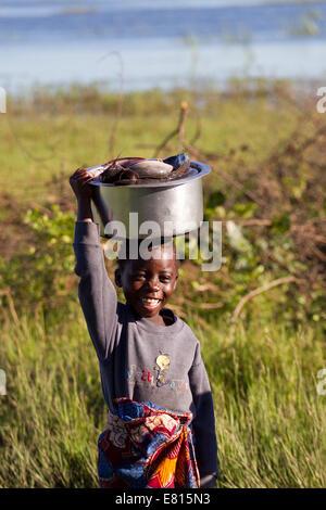 Ein junges Kind trägt einen Eimer mit Fischen in einem Fischerdorf im Bangweulu Feuchtgebiete, Sambia - Stockfoto