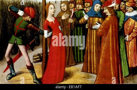 Jeanne d ' Arc, Joan of Arc Tod auf dem Scheiterhaufen - Stockfoto