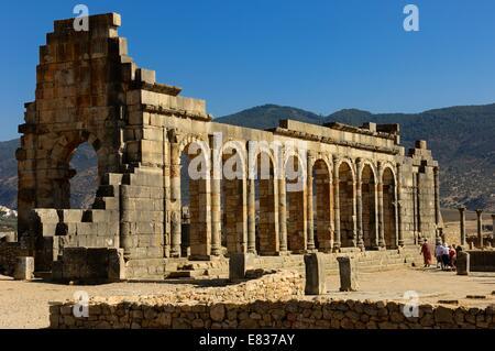 Basilika. Die antiken römischen Stadt Volubilis. Marokko - Stockfoto