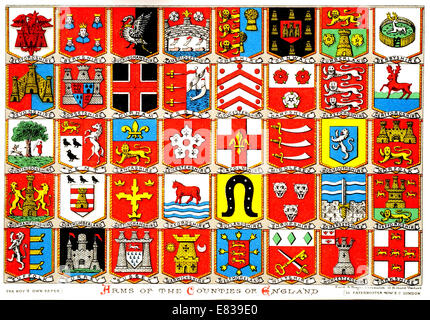 Lithographie Coats Of Arms of die Grafschaften Englands ca. 1885 - Stockfoto