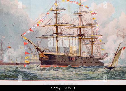 Lithographie Royal naval Gruß aus Spithead ca. 1885 - Stockfoto
