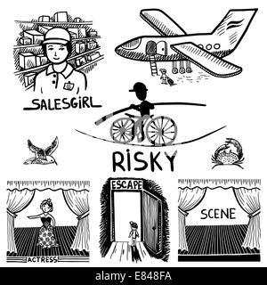 Tusche Zeichnung von riskanten, Verkäuferin, Szene, Schauspielerin, Flucht, Reisen - Stockfoto