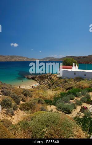 Bucht von Panormos, Agios Sostis, Mykonos, Kykladen, Griechenland - Stockfoto