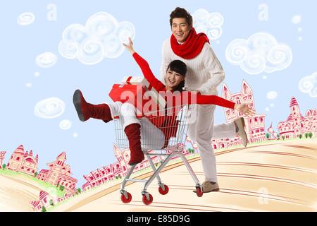 Junges Paar einkaufen - Stockfoto