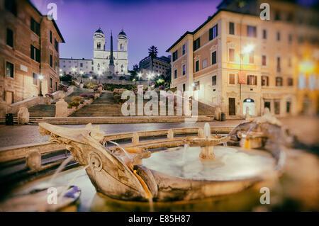 Vintage-Stil-Foto von der spanischen Treppe in Rom - Italien. (Korn, Schmutz und Kratzern hinzugefügt post-Prozess). - Stockfoto
