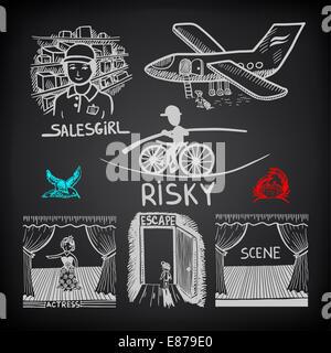 Doodle Skizze Tuschezeichnung von riskant, Verkäuferin, Szene, Schauspielerin, e - Stockfoto