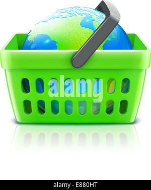 Vektor-Illustration von global-shopping-Konzept mit Supermarkt Korb mit Globus - Stockfoto